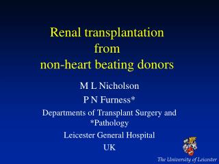 Renal transplantation  from non-heart beating donors