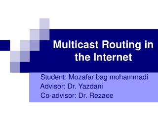 Multicast Routing in the Internet