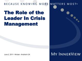 The Role of the Leader In Crisis Management