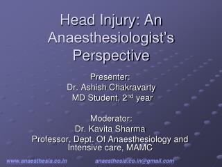 Head Injury: An Anaesthesiologist's Perspective