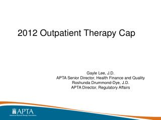 2012 Outpatient Therapy Cap