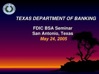 TEXAS DEPARTMENT OF BANKING FDIC BSA Seminar San Antonio, Texas May 24, 2005