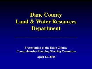 Dane County Land & Water Resources Department