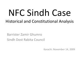 NFC Sindh Case Historical and Constitutional Analysis