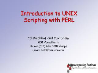 Introduction to UNIX Scripting with PERL