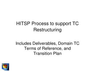 HITSP Process to support TC Restructuring