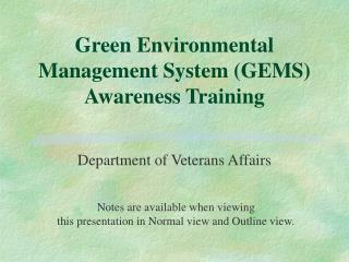 Green Environmental Management System (GEMS) Awareness Training
