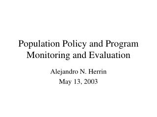 Population Policy and Program Monitoring and Evaluation