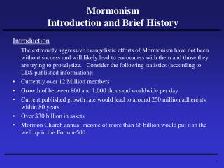 Mormonism Introduction and Brief History