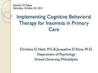 Implementing Cognitive Behavioral Therapy for Insomnia in Primary Care