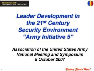 "Leader Development in the 21 st  Century     Security Environment               ""Army Initiative 5"""