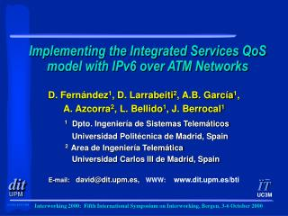 Implementing the Integrated Services QoS model with IPv6 over ATM Networks