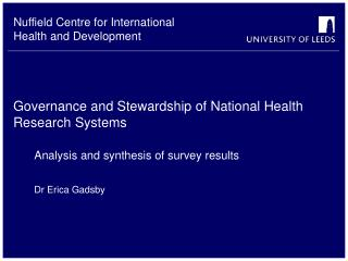 Governance and Stewardship of National Health Research Systems