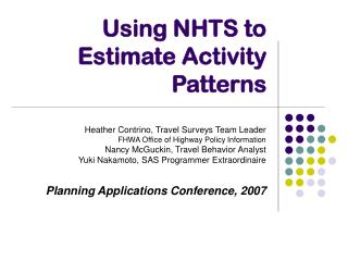 Using NHTS to Estimate Activity Patterns