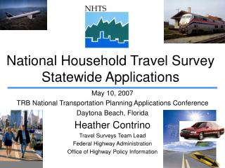 National Household Travel Survey Statewide Applications