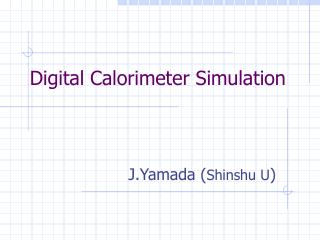 Digital Calorimeter Simulation