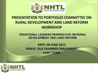 TRADITIONAL LEADERS PERSPECTIVE ON RURAL DEVELOPMENT AND LAND REFORM