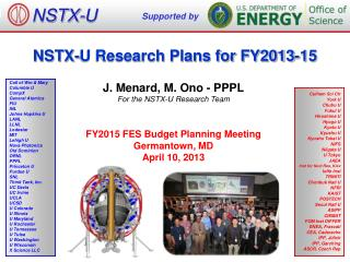 NSTX-U Research Plans for FY2013-15