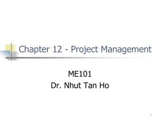 Chapter 12 - Project Management