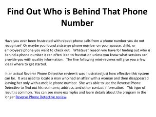 Find Out Who is Behind That Phone Number