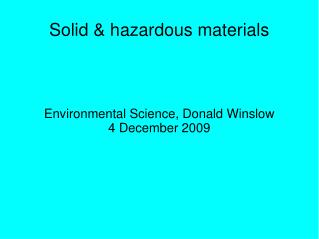 Solid & hazardous materials