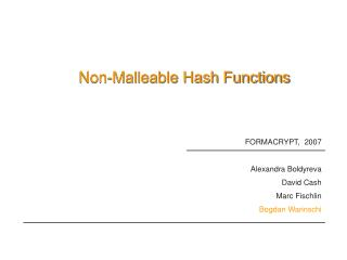 Non-Malleable Hash Functions