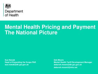 Mental Health Pricing and Payment The National Picture