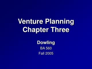 Venture Planning Chapter Three