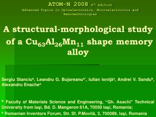 A structural-morphological study  of a Cu 63 Al 26 Mn 11  shape memory alloy