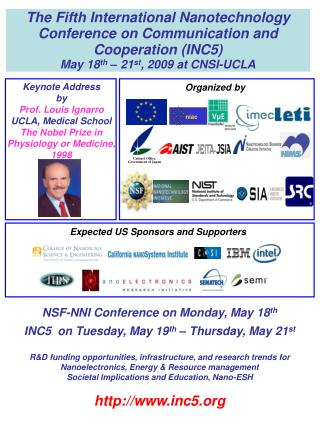 NSF-NNI Conference on Monday, May 18 th INC5  on Tuesday, May 19 th  – Thursday, May 21 st