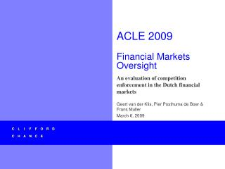 ACLE 2009  Financial Markets Oversight