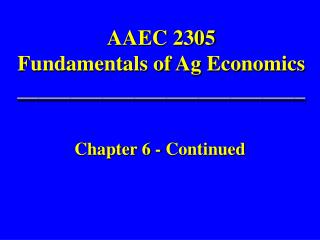 AAEC 2305 Fundamentals of Ag Economics ___________________________