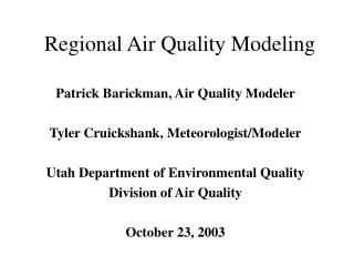 Regional Air Quality Modeling