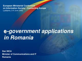 e -government applications in Romania
