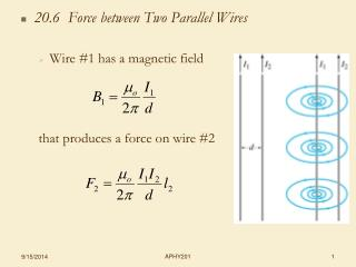 20.6  Force between Two Parallel Wires Wire #1 has a magnetic field