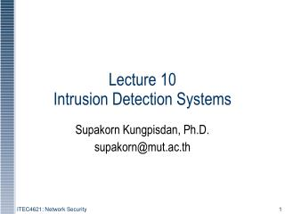 Lecture 10  Intrusion Detection Systems