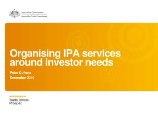 Organising IPA  services around investor  needs