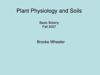 Plant Physiology and Soils Basic Botany Fall 2007