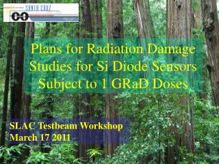 Plans for Radiation Damage Studies for Si Diode Sensors Subject to 1 GRaD Doses