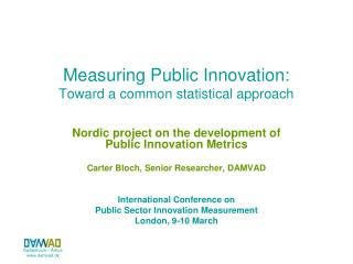 Measuring Public Innovation:  Toward a common statistical approach