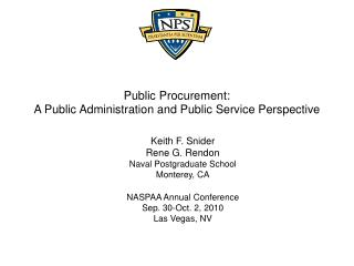 Public Procurement:  A Public Administration and Public Service Perspective