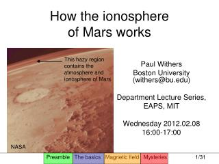 How the ionosphere  of Mars works