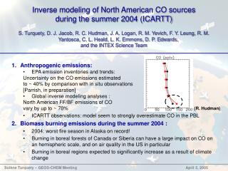Inverse modeling of North American CO sources during the summer 2004 (ICARTT)