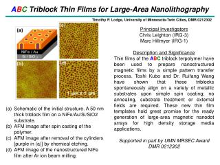 A B C  Triblock Thin Films for Large-Area Nanolithography