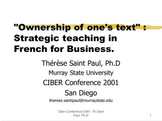 """Ownership of one's text"" : Strategic teaching in French for Business."