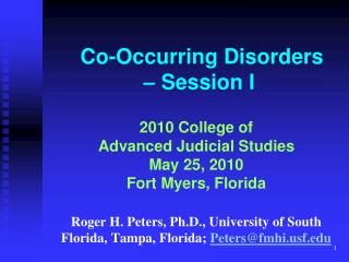Co-Occurring Disorders – Session I