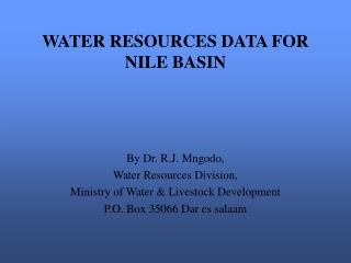 WATER RESOURCES DATA FOR NILE BASIN