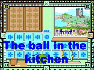 The ball in the  kitchen