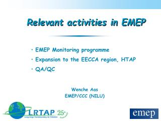 Relevant activities in EMEP