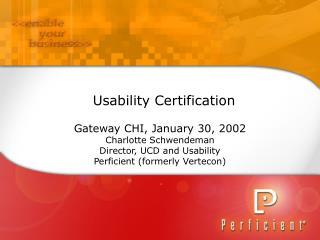 Usability Certification